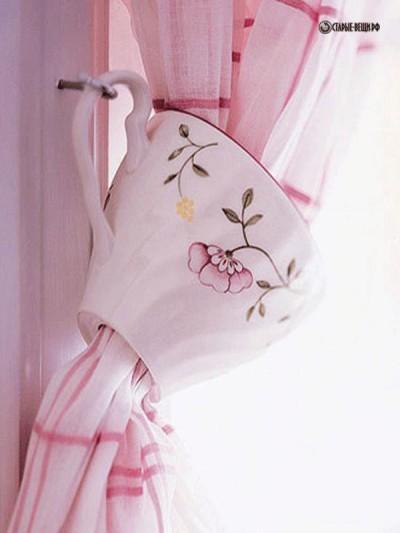 МК Подхваты для штор на кухню из чайных чашек