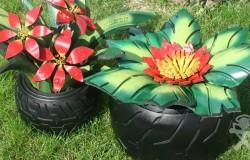 Цветы из автомобильных покрышек