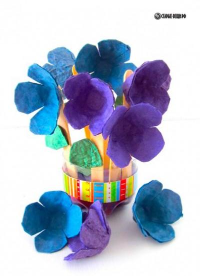 Поделки из яичных лотков в виде цветов