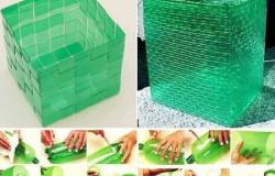 Плетение корзинки из пластиковых бутылок