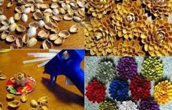 Цветы из скорлупы фисташек