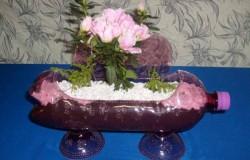 Продолговатый горшок для цветов из пластиковых бутылок