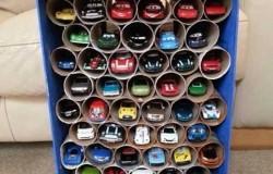 Поделка-гараж из втулок туалетной бумаги