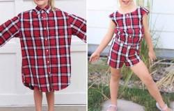 Варианты переделки папиной рубашки в платьице для дочери