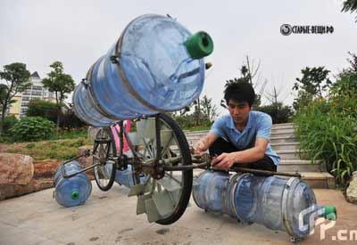 Велосипед амфибия из пластиковых бутылей