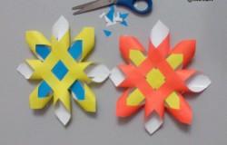 Как сделать объемную снежинку из бумажных полос
