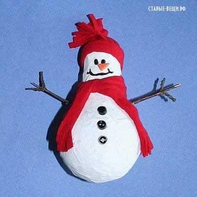 Изделия из папье маше. Снеговик из лампочки