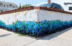 Мозаика из крышек от пластиковых бутылок.