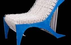 Кресло из обрезков кабеля.