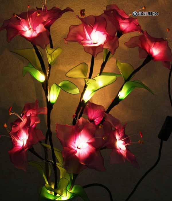 Светильники своими руками из цветов из капрона