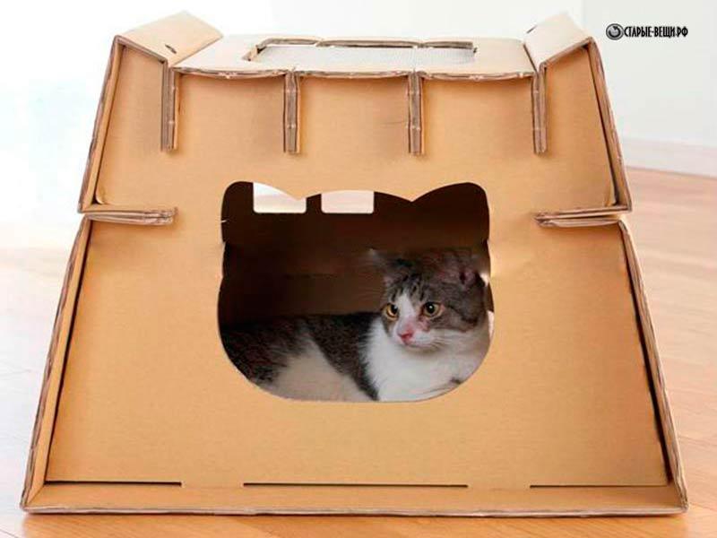 Как сделать домик для кошки из одной коробки