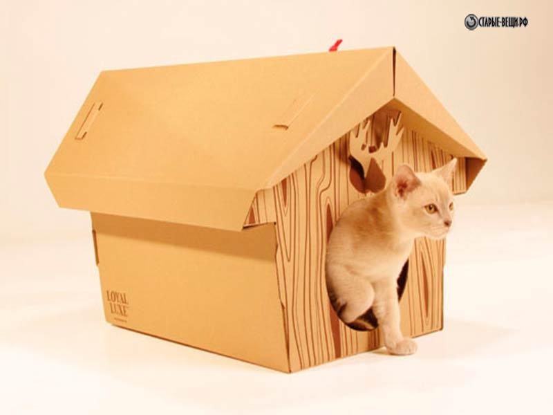 Как сделать домик кошке из коробки своими