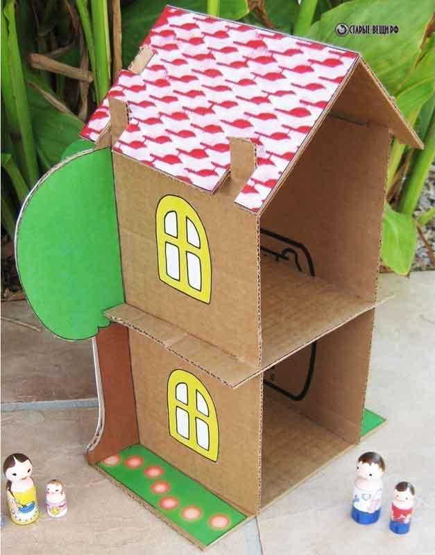 Как сделать небольшой домик из картона своими руками