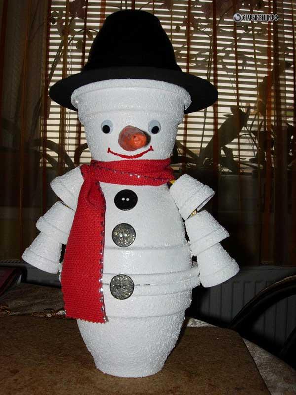 Снеговик на улицу своими руками