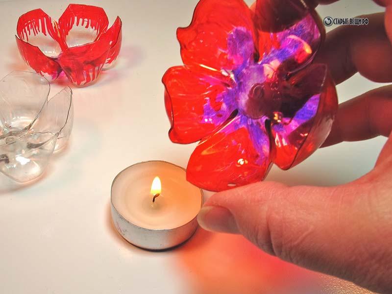 Декоративные Как делать цветы из пластиковых бутылок