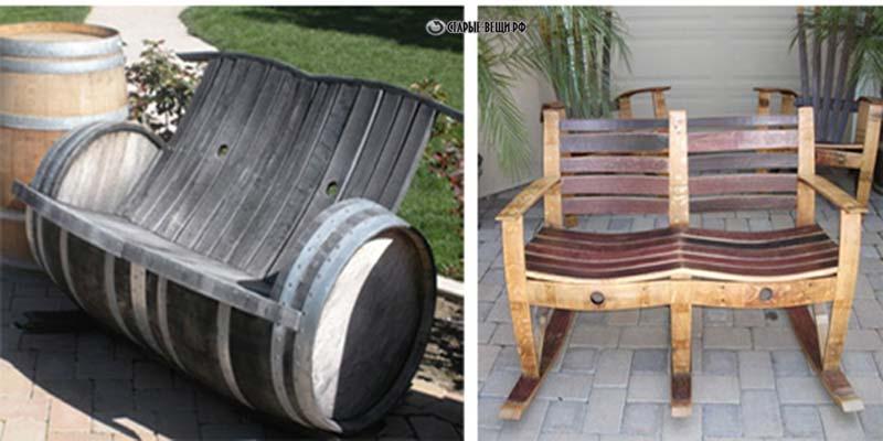 Мебель из деревянных бочек 43