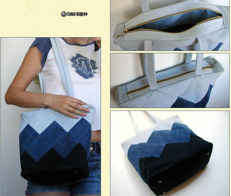 Как сшить стильную сумку из старых джинсов 4