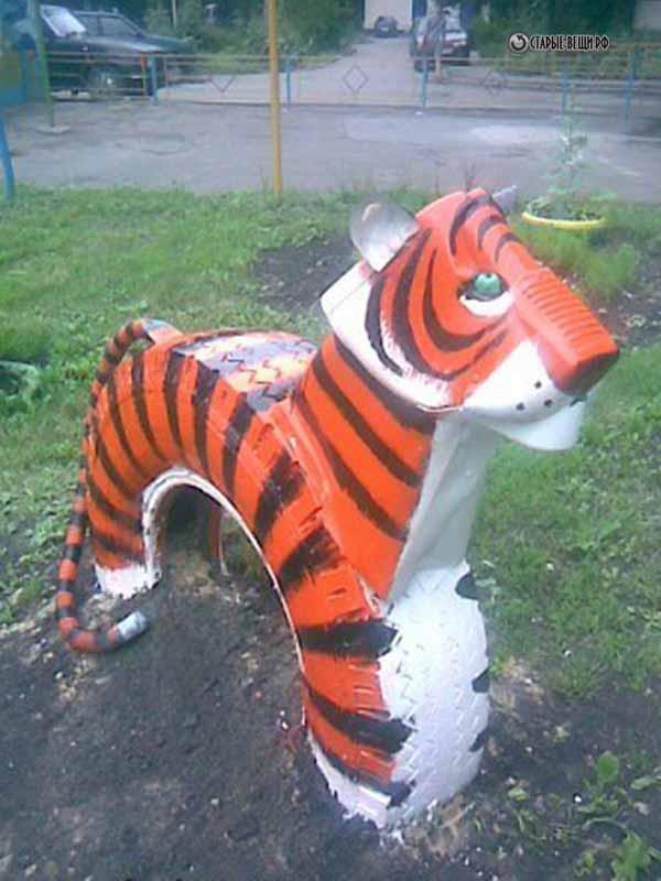 Тигр из пластиковых бутылок своими руками мастер класс схема