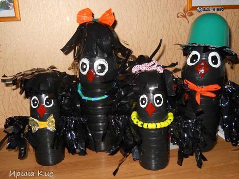 Поделки из пластиковых бутылок ворона 41