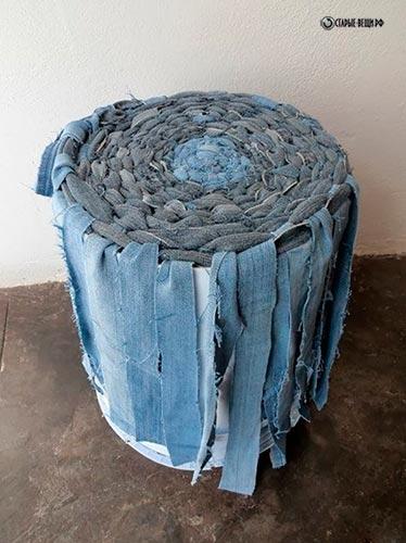 Корзина из джинсы своими руками