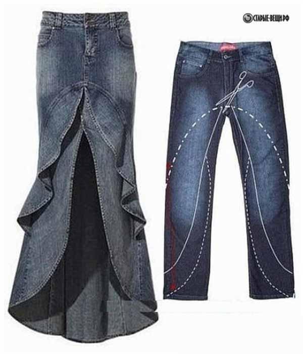 Джинсовые юбки из старых юбок
