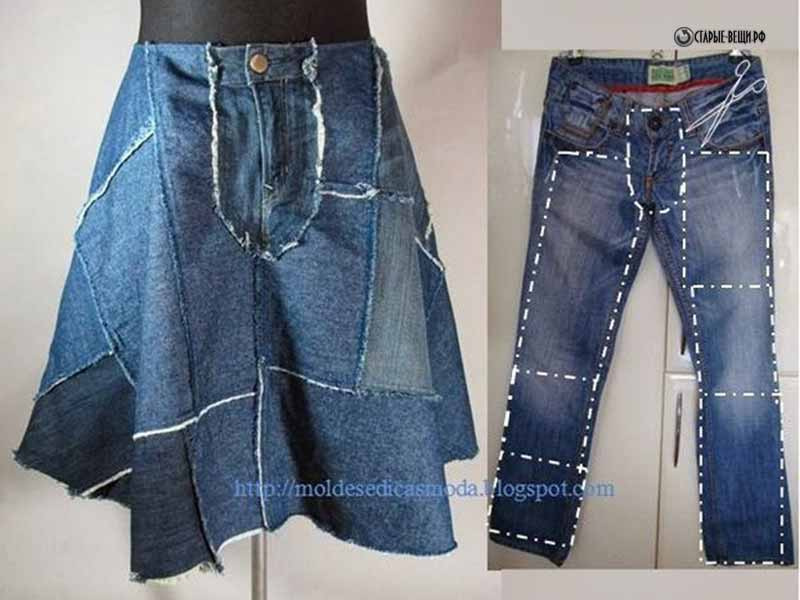Как сделать джинсовую юбку из брюк своими руками