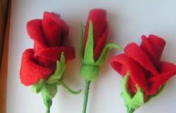 Флисовые цветочки для украшения заколок и одежды