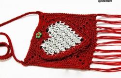 Детская вязаная сумочка для девочек из пряжи и алюминиевых ярлычков