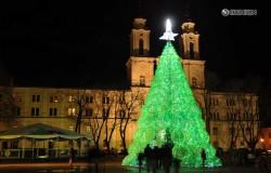 Новогодняя елка из пластиковых бутылок в Литве.