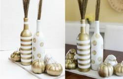 Нежные вазы из бутылок от вина