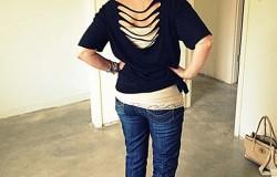 МК по переделке мужской футболки в женскую с прорезями на спине