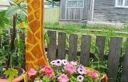 Клумба  жираф  своими руками из подручных материалов