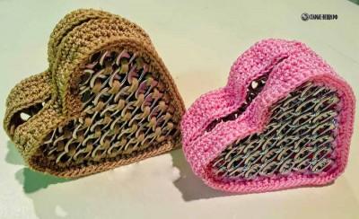Кошелек в виде сердца из ярлычков