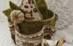 Корзинка для рукоделия из ткани