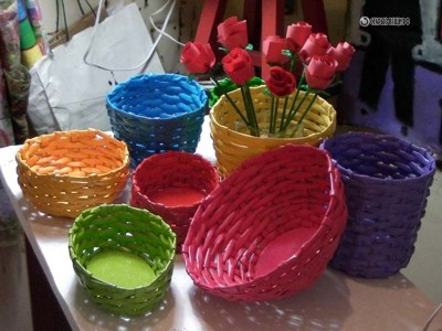 Плетеные корзинки из трубочек для коктейля