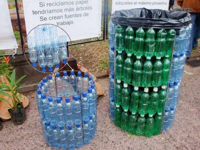 Корзины для мусора из пластиковых бутылок.
