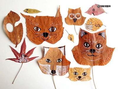 Оригинальные поделки из осенних листьев