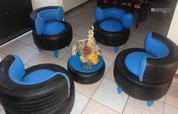 Оригинальная садовая мебель из шин