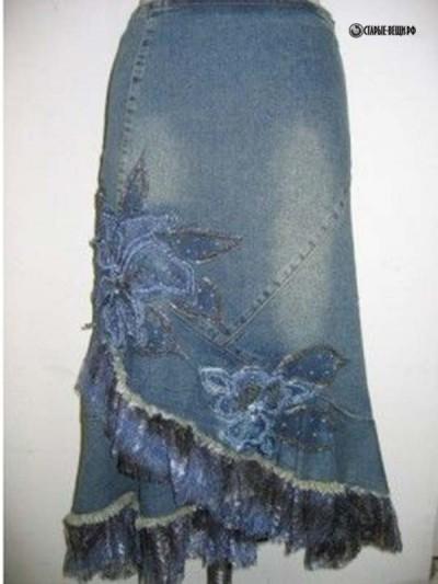 Стильные модные юбки из старых джинсов