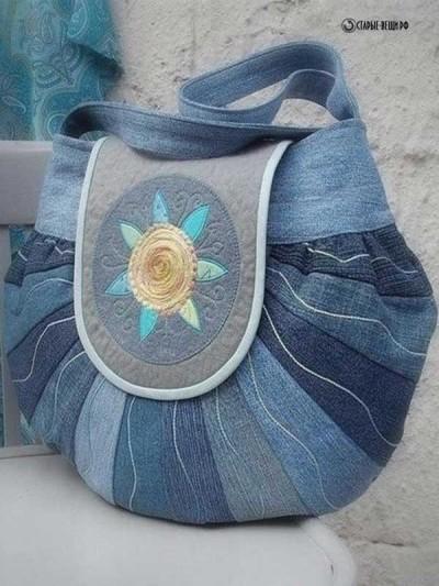 Модные элегантные сумки из джинсов