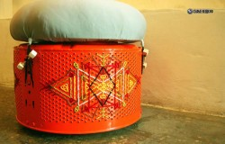 Пуфик из стирального барабана